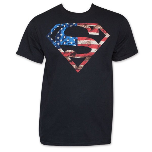 Superman Patriotic American Flag Stars Stripes USA DC Comics Tee Shirt
