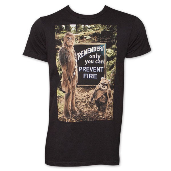 Star Wars Wookie Prevent Fire Tee Shirt - Black