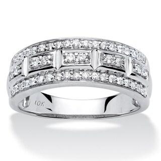 PalmBeach 10k Gold 1/3ct TDW Pave Diamond 3-row Ring (H-I, I2-I3)