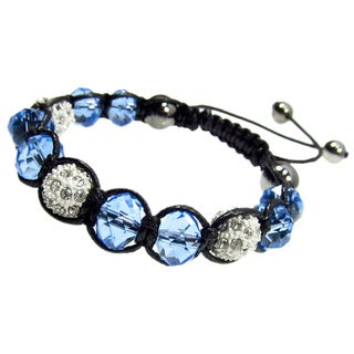 Faceted Blue and White Crystal Ball Bead Shamballa Style Drawstring Bracelet