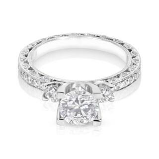 Tacori Platinum 6.5 mm CZ and 7/8ct TDW Diamond Semi-mount 3-stone Engagement Ring (G-H, VS1-VS2)