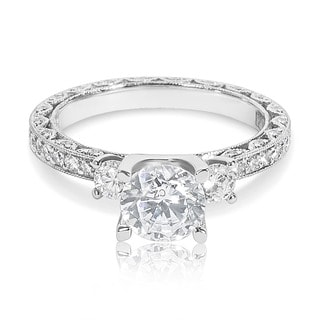 Tacori Platinum 3-stone 7/8 ct TDW Diamond Engagement Ring Setting with 6.5 mm Round CZ Center (G-H, VS1-VS2)