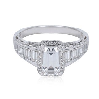 Tacori Platinum 7/8ct TDW Emerald-cut CZ and Baguette-cut Diamond Semi-mount Engagement Ring (G-H, VS1-VS2)