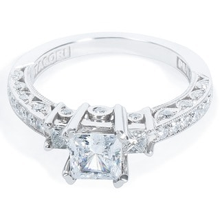 Tacori Platinum 1/2ct TDW CZ and Diamond Semi-mount 3-stone Bridal Ring (G-H, VS1-VS2)