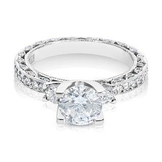Tacori Platinum 3-stone 7/8 ct TDW Diamond Engagement Ring Setting with 6.5 mm Round CZ Center (G-H, VS1-VS2)