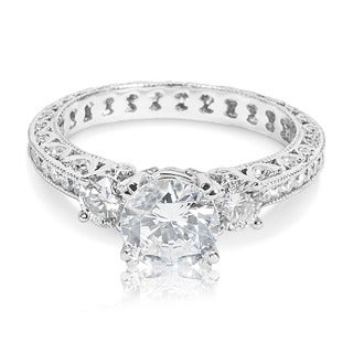 Tacori Platinum 3-stone 1 ct TDW Diamond Engagement Ring Setting with 6.5 mm Round CZ Center (G-H, VS1-VS2)