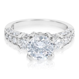 Tacori Platinum 3-stone 1 1/4 ct TDW Diamond Engagement Ring Setting with 7.5 mm Round CZ Center (G-H, VS1-VS2)