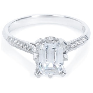 Tacori Platinum 1/8ct TDW Emerald-cut CZ and Diamond Semi-mount Bridal Ring (G-H, VS1-VS2)