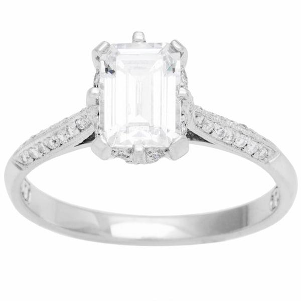 SB-C Tacori Platinum 1/8ct TDW CZ and Diamond Semi-mount Bridal Ring (G-H, VS1-VS2)