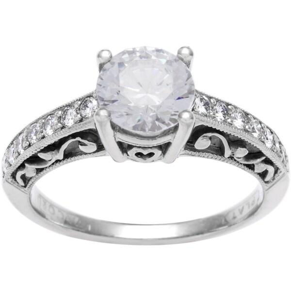 Tacori Etched Platinum 1/4ct TDW CZ and Diamond Semi-mount Bridal Ring (G-H, VS1-VS2)