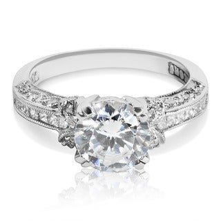 Tacori Platinum 1/3ct TDW CZ and Diamond Semi-mount Solitaire Bridal Ring (G-H, VS1-VS2)
