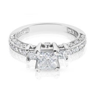 Tacori Platinum 1/2ct TDW CZ and Diamond 3-stone Semi-mount Bridal Ring (G-H, VS1-VS2)