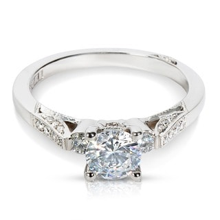Tacori 18k White Gold 1/5ct TDW Cubic Zirconia and Diamond Semi-mount Engagement Ring (G-H, VS1-VS2)