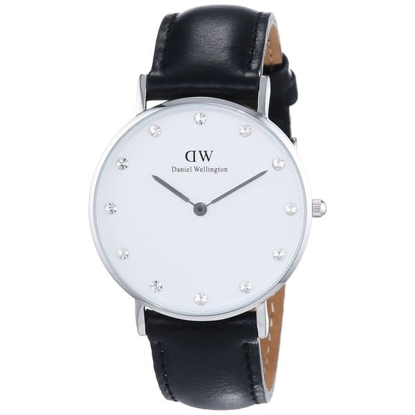 Daniel Wellington Women's 0961DW Classy Sheffield Round Black Leather Strap Watch