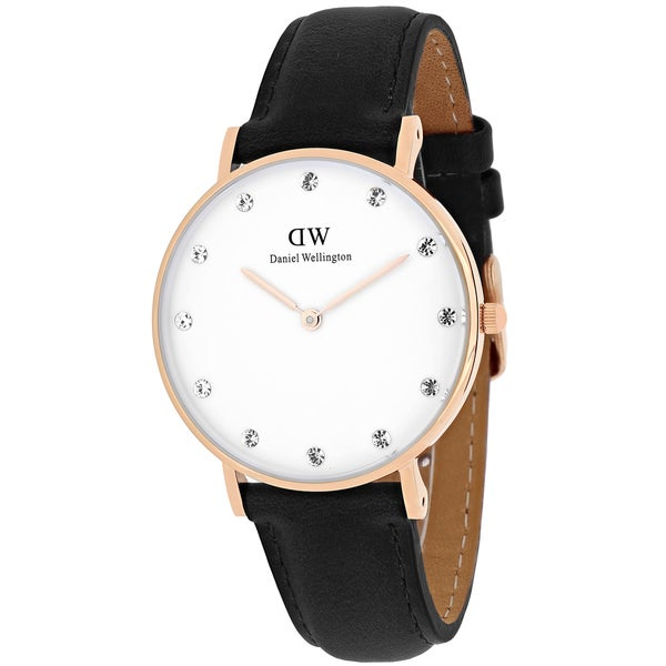 Daniel Wellington Women's 0951DW Classy Sheffield Round Black Leather Strap Watch