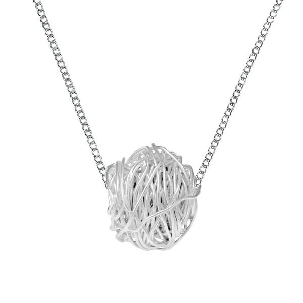 Tangled Wire Wrap Round 3D Ball Sterling Silver Necklace (Thailand)