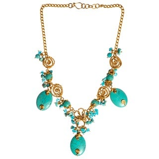 Alluring Wire Works Oval Turquoise Handmade Necklace (Philippines)