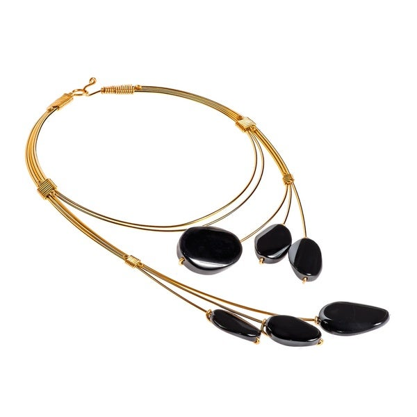 Unique Floating Oval Black Agate Brass Statement Necklace (Philippines)