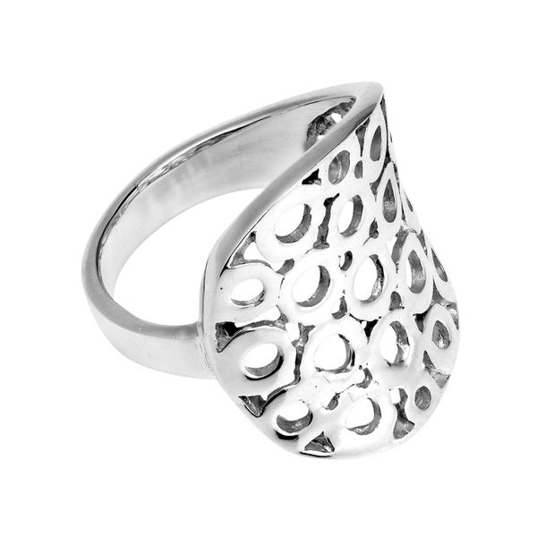 Contempo Multi Circles Sheet Wrap Sterling Silver Ring (Thailand)