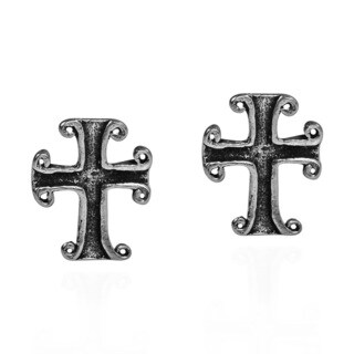 Petite Curved Edge Design Cross .925 Silver Stud Earrings (Thailand)