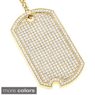Luxurman 14k Gold 5ct TDW Diamond Iced Out Designer Dog Tag Pendant (G-H, VS1-VS2)