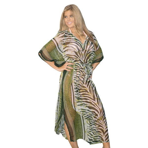 Women's Sheer Chiffon Green Zebra Line Printed Long Caftan