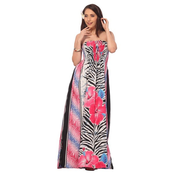 Women's Pink Hibiscus Flower and Leaf Printed Long Tube Dress Cover-up