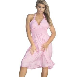 Women's Viscose Designer Pink Embroiderd Backless Halter Short Tube Dress