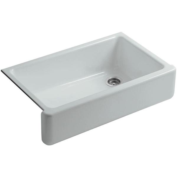 Kohler Whitehaven Undermount Cast Iron 35.6875 in. 0-Hole Single Bowl Kitchen Sink in Ice Grey