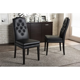 Set of 2 Dylin Modern and Contemporary Black Faux Leather Button-Tufted Nail Heads Trim Dining Chair