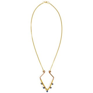 Geometric Goldtone and Blue Bead Necklace (India)