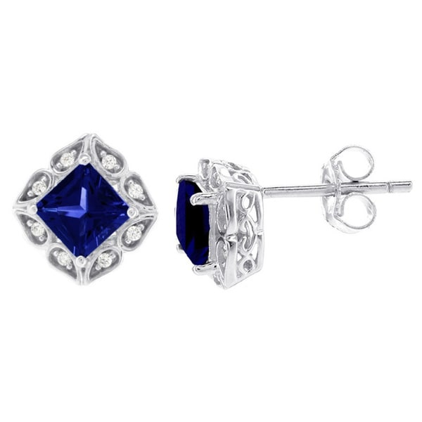 H Star 14k White Gold Diamond Accent and Created Sapphire Earrings (H-I, I1-12)