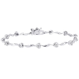 H Star 14k White Gold 1/7ct TDW Diamond Heart Bracelet (I-J, I2-I3)