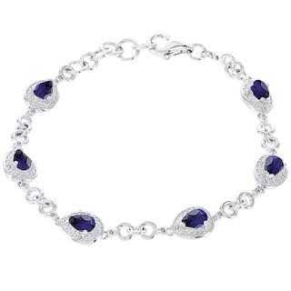 H Star 14k White Gold 1/6ct Diamond and Created Sapphire Bracelet (H-I, I1-I2)