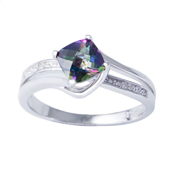 H Star Sterling Silver Cushion-cut Mystic Fire Topaz Diamond Accent Ring