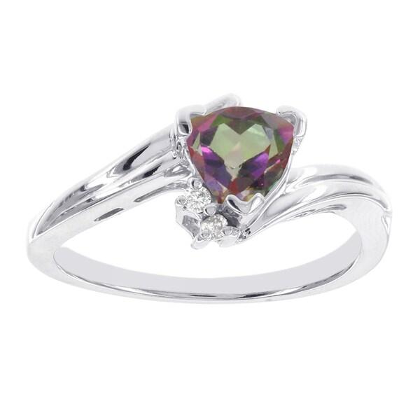 H Star 10k White Gold Trillion-cut Mystic Fire Topaz Diamond Accent Ring 15994513