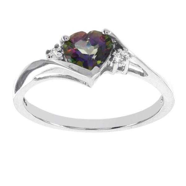H Star 10k White Gold Heart Mystic Fire Topaz Diamond Accent Ring 15994520