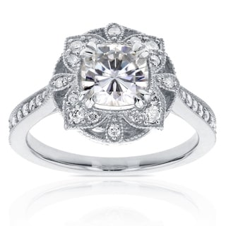 Annello 14k Gold Cushion-cut Moissanite and 1/4ct TDW Diamond Antique Tapered Ring (G-H, I1-I2)