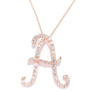 18k Rose Gold over Sterling Silver Round Morganite Initial Necklace