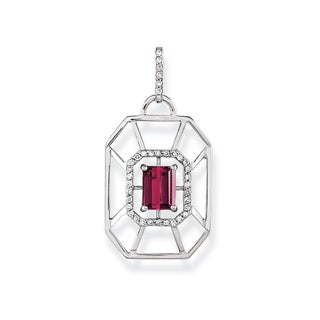 Estie G 18k White Gold Pink Tourmaline and 1/4ct TDW Diamond Necklace (H-I, VS1-VS2)