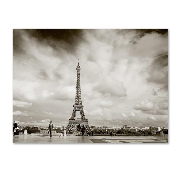 Preston 'Paris Eiffel Tower and Man' Canvas Art 15995226