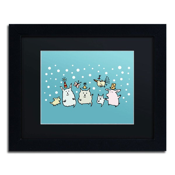 Carla Martell 'Christmas Creatures in Blue' Black Matte, Black Framed Wall Art