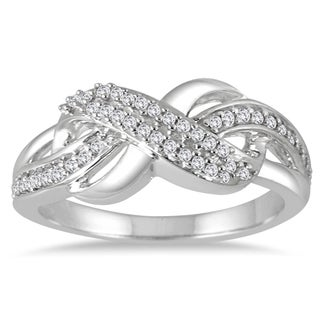 Marquee Jewels 10k White Gold 1/5ct TDW Diamond Infinity Ring (I-J, I1-I2)
