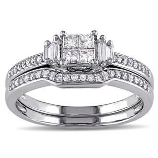 Miadora 10k White Gold 1/2ct TDW Diamond Bridal Ring Set (G-H, I2-I3)