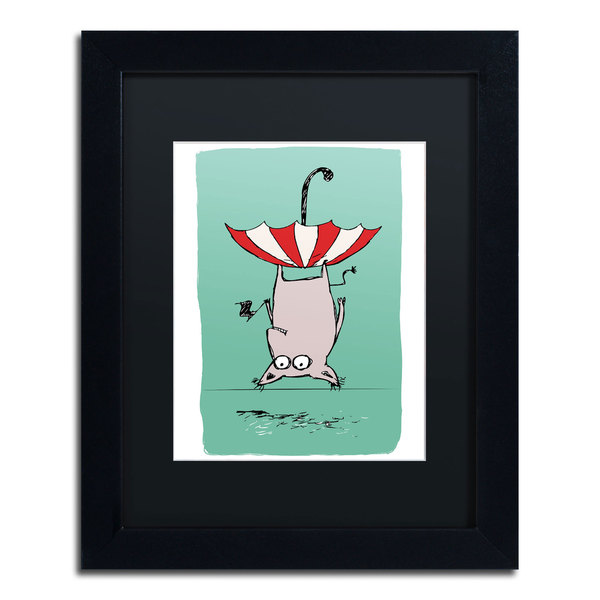Carla Martell 'Upside Down Animal' Black Matte, Black Framed Wall Art