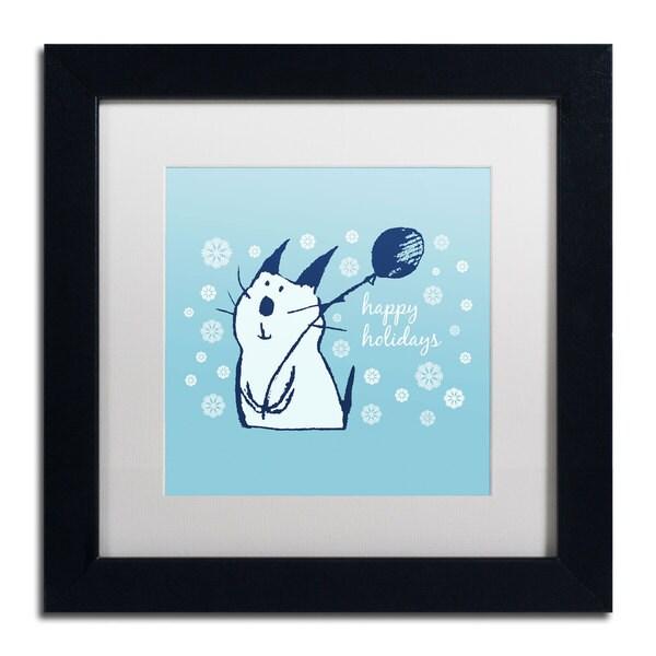 Carla Martell 'Christmas Party Cat' White Matte, Black Framed Wall Art