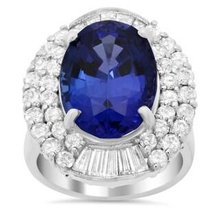 14k White Gold 2 1/4ct TDW Diamond and 10 1/2ct TGW Tanzanite Ring (E-F, VS1-VS2)