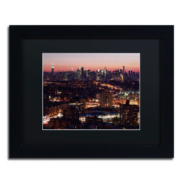 David Ayash 'Midtown From Queens' Black Matte, Black Framed Wall Art