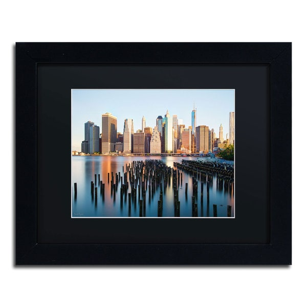 David Ayash 'Brooklyn Bridge Park and Financial District - I Black Matte, Black Framed Wall Art