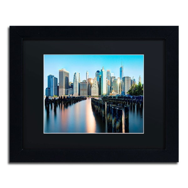 David Ayash 'Brooklyn Bridge Park and Financial District - II' Black Matte, Black Framed Wall Art